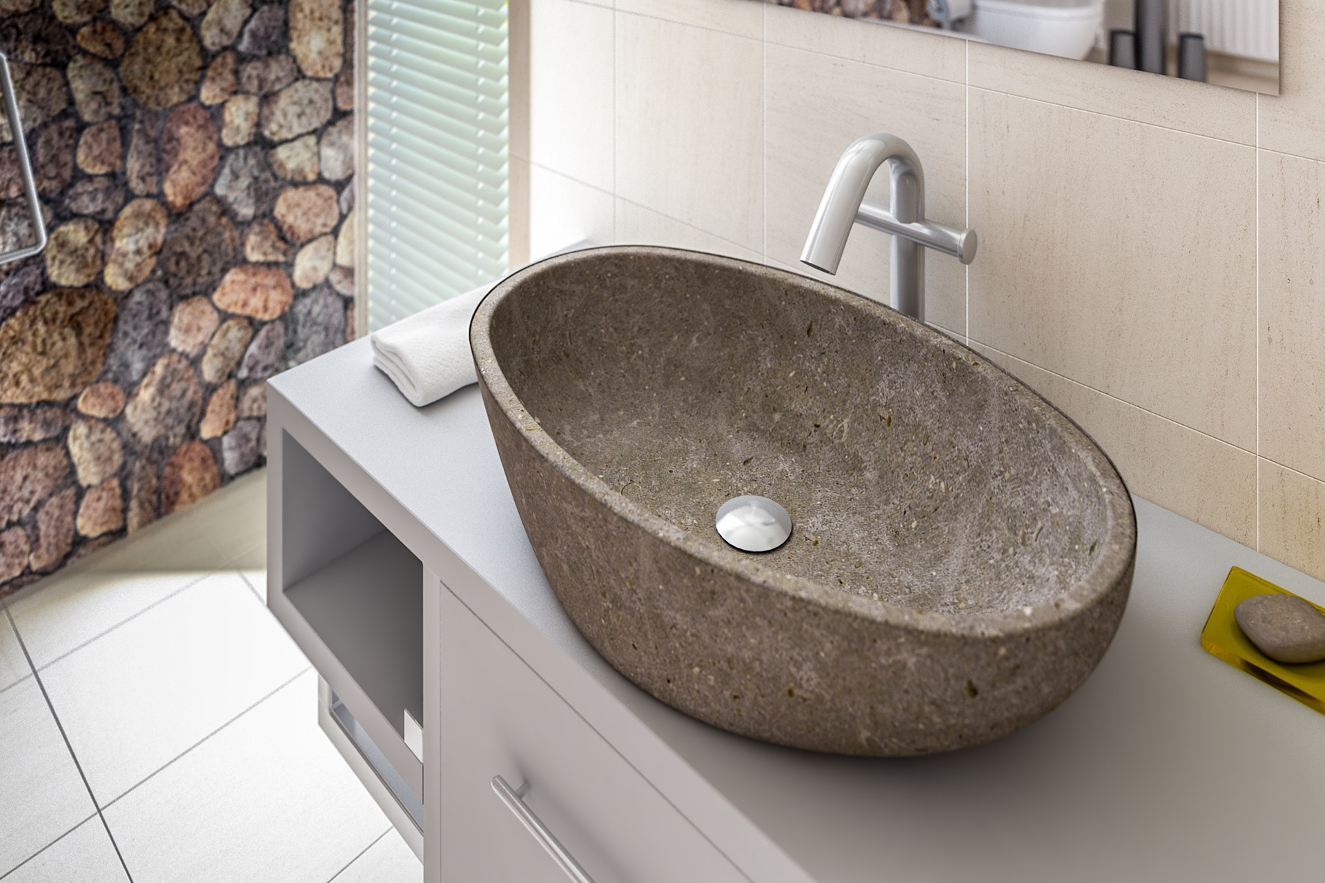 washbasin Limestone grey